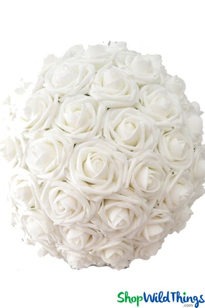"Real Feel Flower Ball - Foam Rose - Pomander Kissing Ball - 13"" White - BUY MORE, SAVE MORE!"