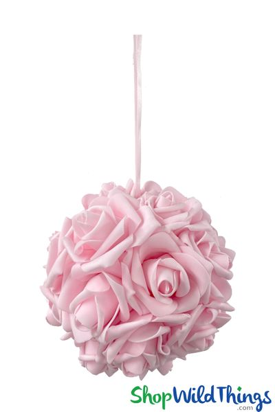 """COMING SOON! Real Feel Flower Ball - Foam Rose - Pomander Kissing Ball - 6"""" Pink - BUY MORE, SAVE MORE!"""