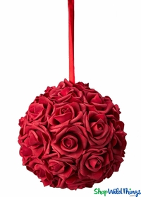 "Real Feel Flower Ball - Foam Rose - Pomander Kissing Ball - 6"" Red - BUY MORE, SAVE MORE!"