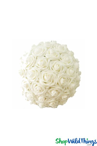 "Real Feel Flower Ball - Foam Rose - Pomander Kissing Ball - 6 1/2"" Ivory - BUY MORE, SAVE MORE!"
