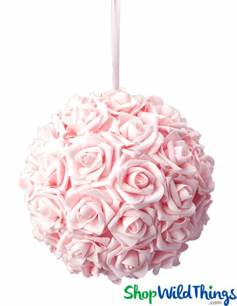 "Real Feel Flower Ball - Foam Rose - Pomander Kissing Ball - 9 1/2"" Baby Pink - BUY MORE, SAVE MORE!"