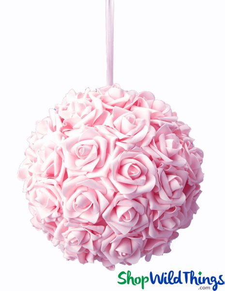 "Real Feel Flower Ball - Foam Rose - Pomander Kissing Ball - 9 1/2"" Pink - BUY MORE, SAVE MORE!"