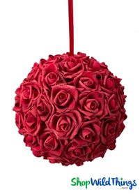 "Real Feel Flower Ball - Foam Rose - Pomander Kissing Ball - 9 1/2"" Red - BUY MORE, SAVE MORE!"