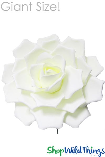 "Real Feel 17"" Giant Foam Rose Ivory- Make Flower Walls"
