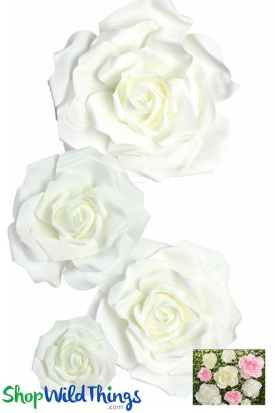 "Real Feel Foam Rose 4Pc Set - 8"", 12"", 15"" & 20"" - White (Floating)  - Make Flower Walls!"