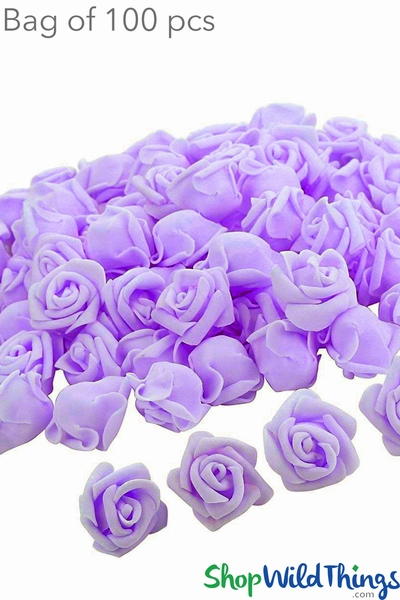 "Real Feel Foam Roses 2.5"" - Lilac Purple - 100Pcs (Floating!)"