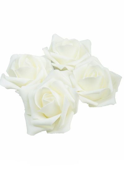 "Real Feel Foam Roses 2"" - Ivory - 12 Pcs (Floating!) - BUY MORE, SAVE MORE!"