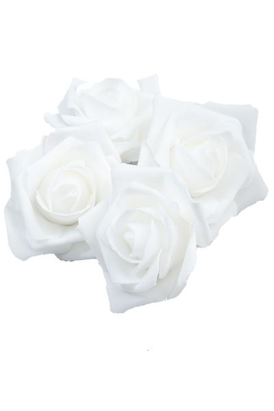 "Real Feel Foam Roses 2"" - White - 12 Pcs (Floating!) - BUY MORE, SAVE MORE!"