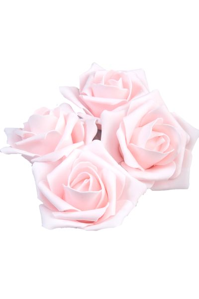 "Real Feel Foam Roses 3"" - Baby Pink - 12 Pcs (Floating!)"