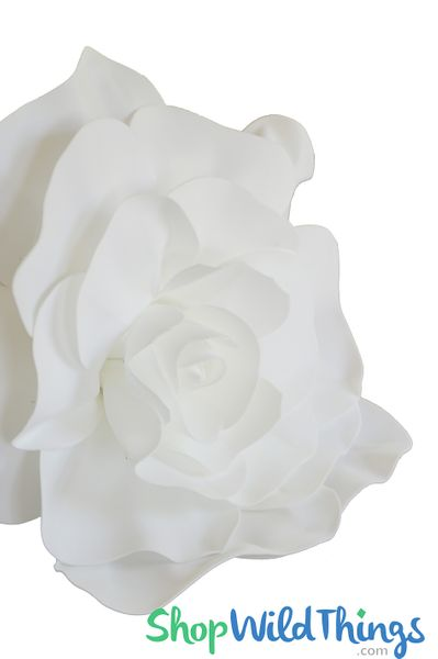 "Real Feel 20"" X-Large White Foam Rose - Make Flower Walls!"