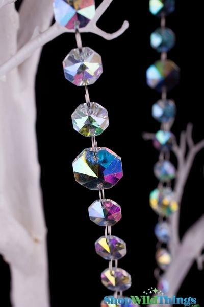 "Real Glass Crystals ""Vinca"" Beaded Hanging Garland - Iridescent Octagons - 40"" Strands"