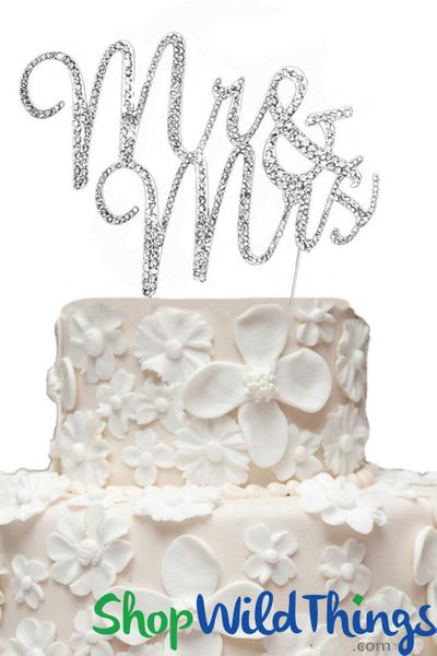"Real Rhinestone Cake Topper Silver ""Mr & Mrs"" 3"" x 5"""