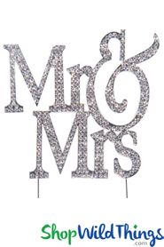 "Real Rhinestone Cake Topper Silver ""Mr & Mrs"" 4 1/2"" x 4 3/4"""