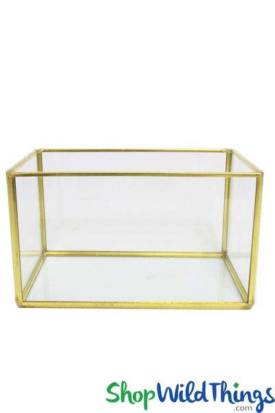 "Geometric Rectangle Terrarium & Candle Holder - Gold - 5 7/8"" Long x 3 1/2"" Wide"