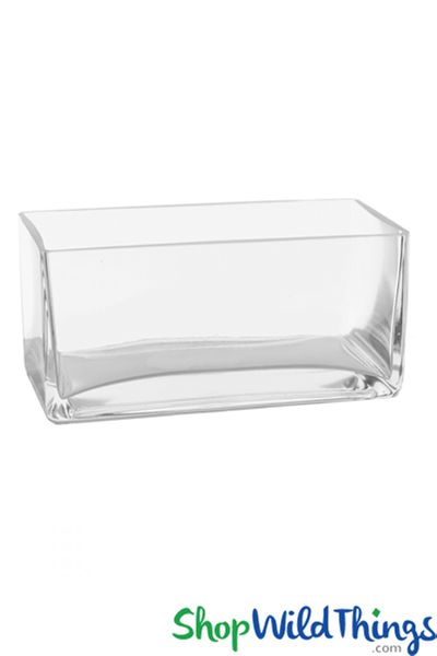 "Rectangle Vase - Clear Glass - 10"" Long x 4"" Wide x 4"" tall - 2 Pieces"