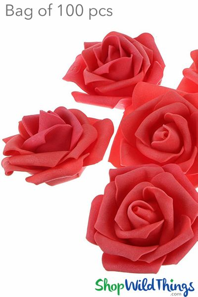 "Coming Soon - Real Feel Foam Roses 2.5"" - Coral Red- 100Pcs (Floating!)"