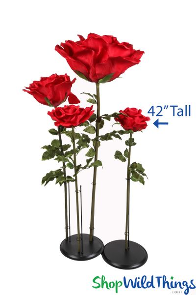 "Oversized Medium Silk Rose Bloom w/Removable Stem - Red - 42""H x 9""W"