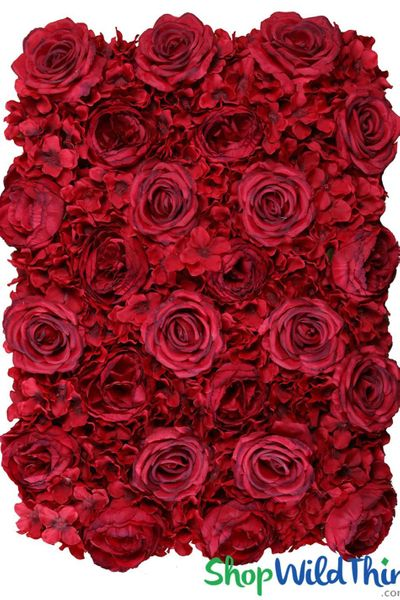 "COMING SOON! Flower Wall 19 1/2"" x 27"" Premium Silk Roses, Peonies & Hydrangeas - Rich Red"