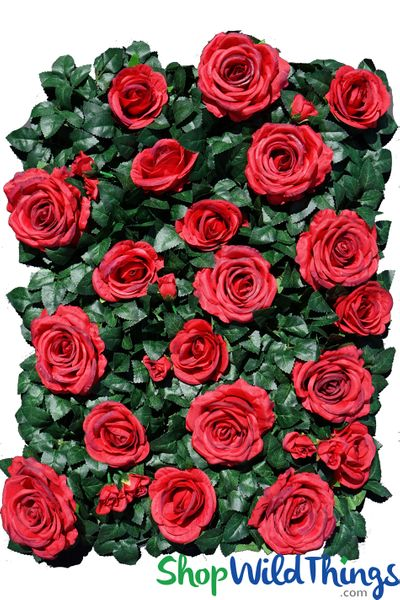 """COMING SOON! Flower Wall 19"""" x 25"""" Premium Silk Roses & Green Leaves - Red"""