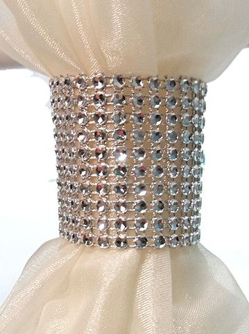"Coming Soon - Rhinestone Mesh Napkin Ring / Chair Tie - 2"" - 40Pcs"