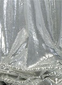 "Ritzy Round Spangles White & Silver  - Fabric 44"" x  5 yards"