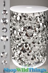 Roll of Beads 22 Yards (66 ft) Diamante Duo Silver