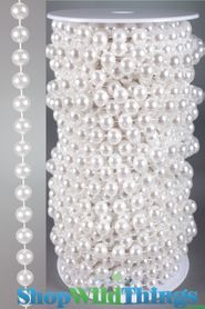 Roll of Beads - 22 Yards (66 Feet) White Pearls 10mm Balls - BUY MORE, SAVE MORE!