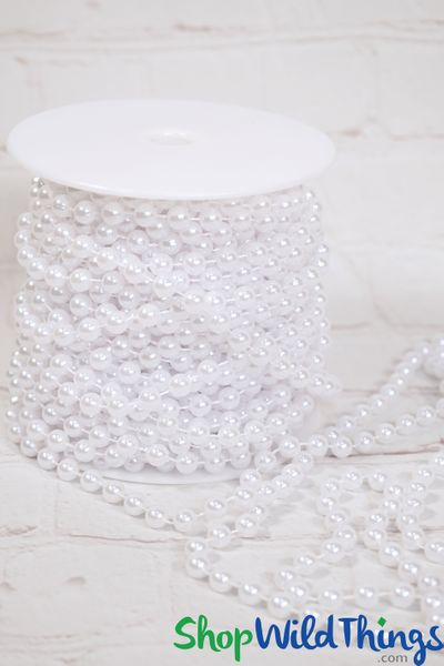 Roll of Beads PREMIUM WEIGHT - 22 Yards (66 Feet) White Pearls 8mm Balls