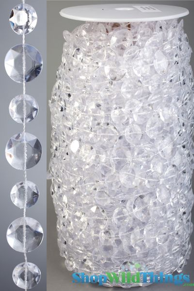 COMING SOON! Rolls of Beads 22 Yards (66 ft)- Diamante Duo Crystal Non-Iridescent