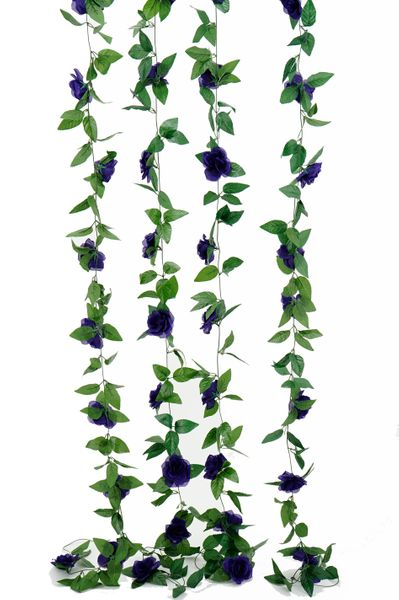 Flower Garland - Silk Rose - 8' - Purple - BUY MORE, SAVE MORE!