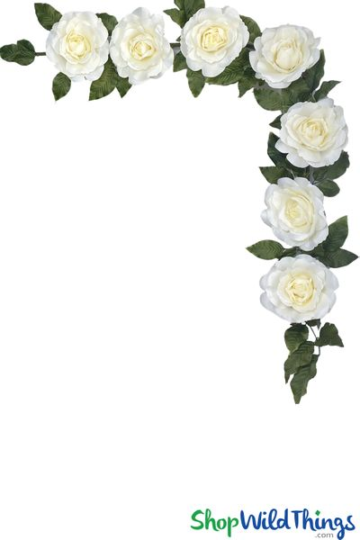 "Rose Waterfall - Bendable Hanging or Tabletop Cream Garland - 86"" Long"