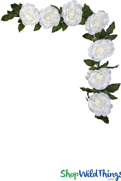 "Rose Waterfall - Bendable Hanging or Tabletop White Garland - 86"" Long"