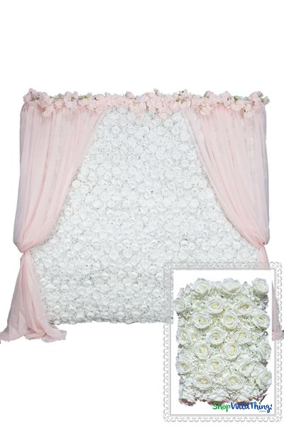 Flower Wall Kit - 8' x 8' Portable Backdrop Kit - Cream Roses & Hydrangeas