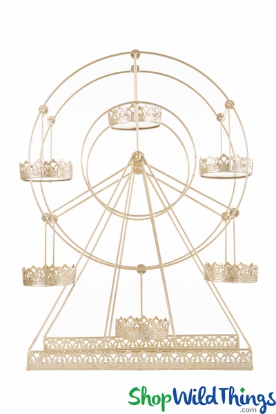 "COMING SOON! Rotating Metal Ferris Wheel Dessert Server  Light Gold  22""H x 19""L"