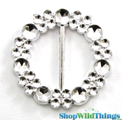 "Round Buckle 1.75"" - Set of 10 Sparkling ""Diamond"" Buckles"