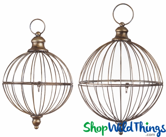 "SALE ! Round Modern Sphere Birdcages Set of 2 Large -  12"" & 15"" - Antique Gold"