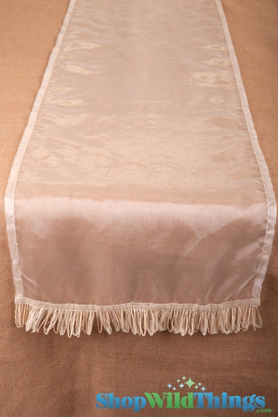 CLEARANCE! Runner Sheer w/Ribbon Border - Ivory 16x72""