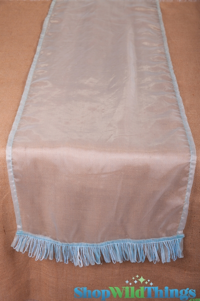 CLEARANCE! Runner Sheer w/Ribbon Border - Light Aqua Blue 16x72""