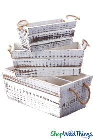 Rustic Wooden Boxes w/Handles - Whitewashed - Set of 3 - BUY MORE, SAVE MORE!