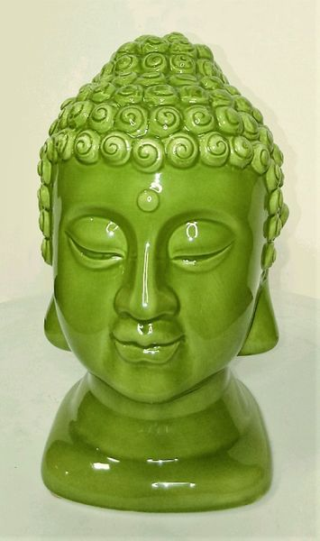 "SALE! Apple Green Ceramic Buddha Head Statue 7"" Tall"