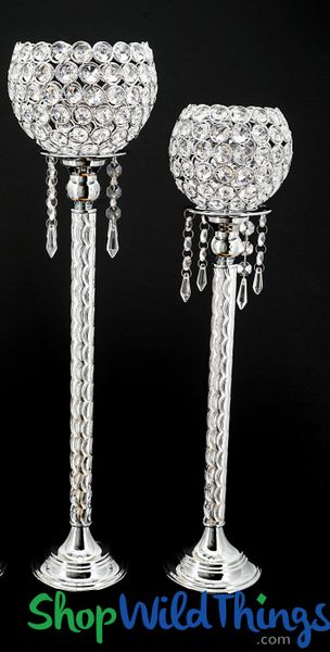 "SALE! Beaded Real Crystals Candle Holders - ""Prestige"" Etched Silver Stem Set of 2"