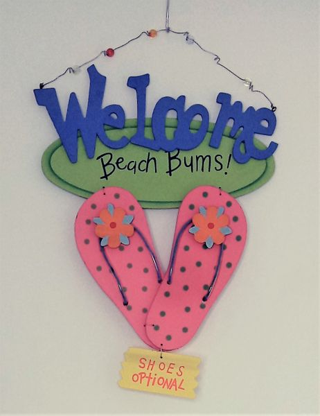 SALE! Colorful Wooden Sign Welcome Beach Bums!