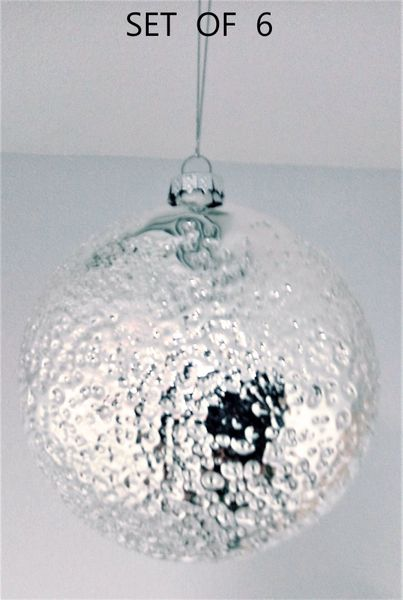 """SALE! 6 Glass Disc Ornaments Hammered Silver Finish , 4 1/2"""" Diameter"""