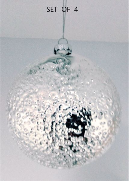 "SALE! 4 Glass Disc Ornaments Hammered Silver Finish , 4 1/2"" Diameter"