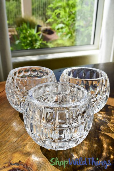 "SALE! Embossed Glass Candle Holder Set of 3 Designs - Clear - 3 1/4"" Wide x 2 1/2"" Tall"