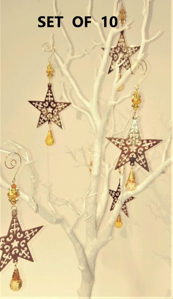 SALE! Set of 10 Gold Metal Cut-out Star Ornaments With Jewels