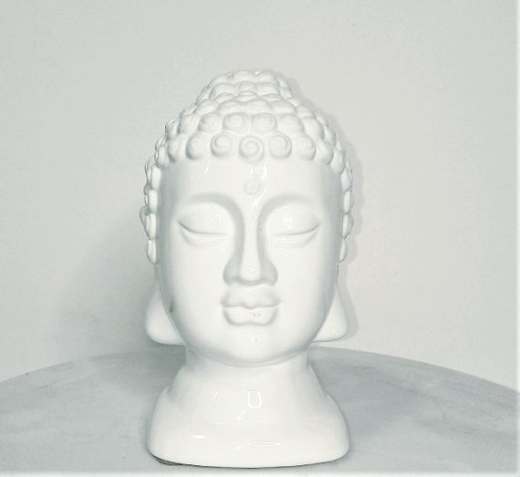 "SALE! White Ceramic Buddha Head Statue 7"" Tall"
