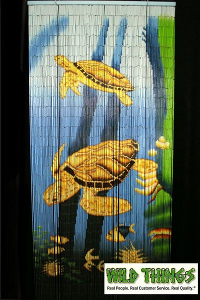 COMING SOON! Sea Turtles 90 Strand Painted Bamboo Beaded Curtains