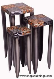 "CLEARANCE! Set of 3 Metal Stands - Zebra & Giraffe Pattern - ""Wild Ones"""