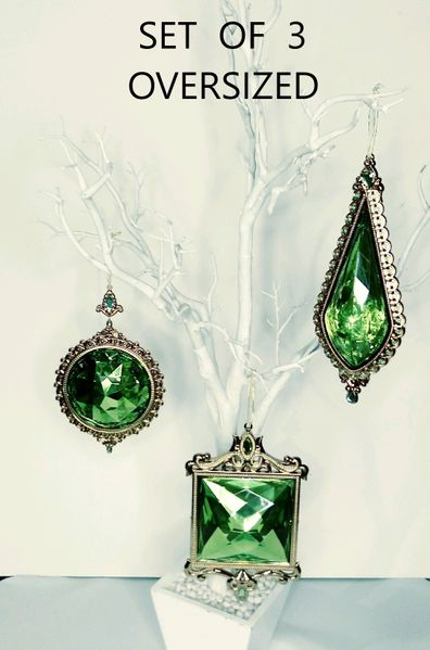 COMING SOON! SALE! Set of 3 Oversized Ornate Gem Ornaments, 3 Styles